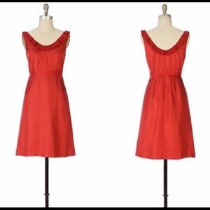 Anthropologie NWT Moulinette Soeurs Red Silk Dress